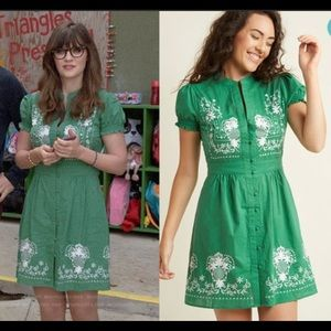 ModCloth Green Embroidered Puff Sleeve Dress